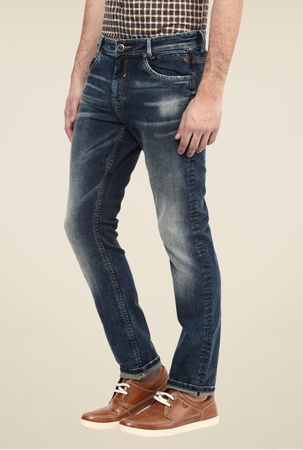 Mufti Dark Blue Solid Jeans