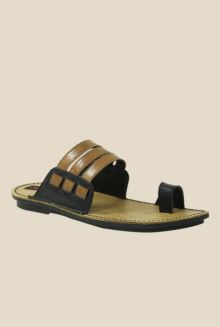 Get Glamr Doman Black & Brown Toe Ring Sandals