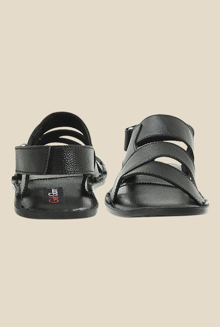 Get Glamr Nigel Black Back Strap Sandals