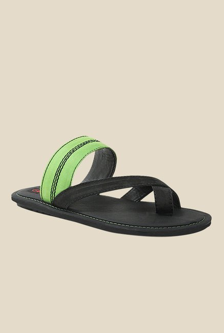 Get Glamr Urs Green & Black Slide Sandals