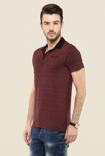 Mufti Maroon Printed Polo T Shirt