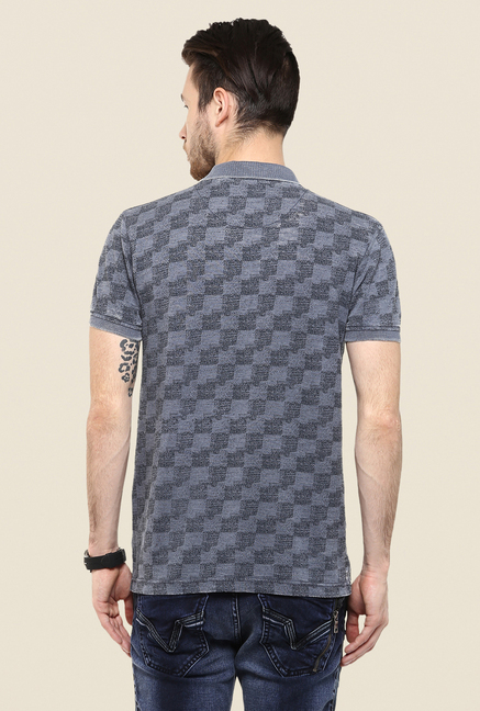 Mufti Grey Printed Polo T Shirt
