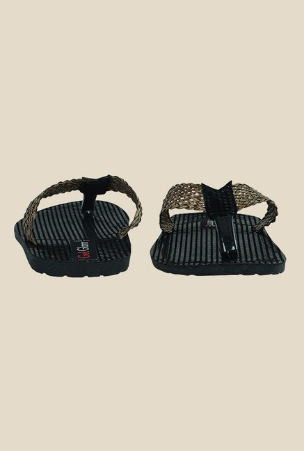 Get Glamr Ash Brown & Black Slide Flip Flops
