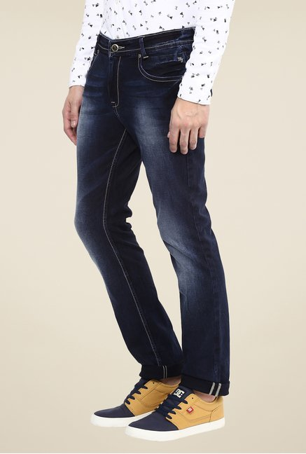 Mufti Deep Blue Solid Jeans