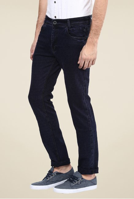 Mufti Deep Blue Checks Jeans