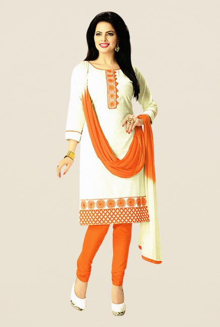 Salwar Studio Off White & Orange Embroidered Dress Material