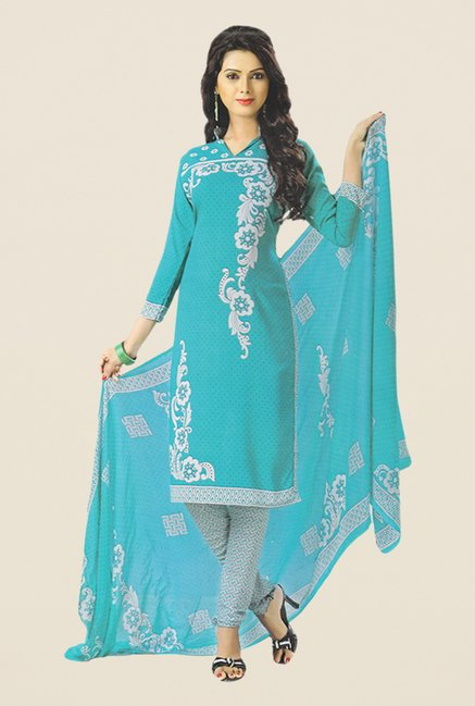 Salwar Studio Turquoise & Grey Printed Dress Material