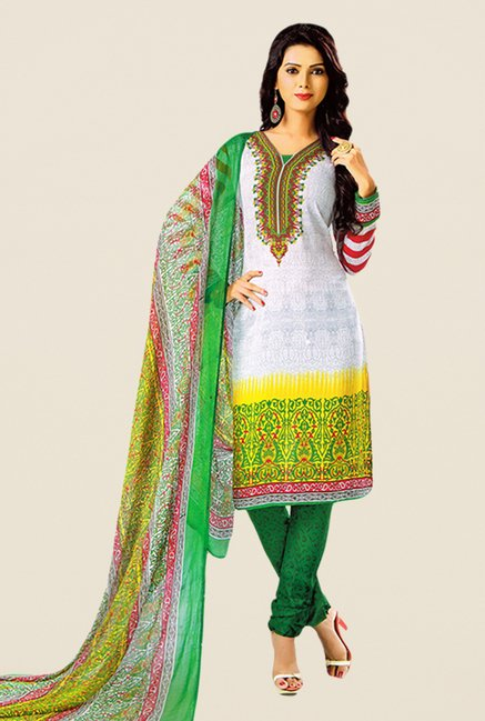 Salwar Studio White & Green Printed Dress Material