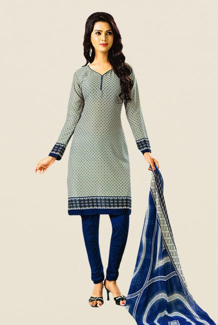 Salwar Studio Grey & Blue Printed Dress Material