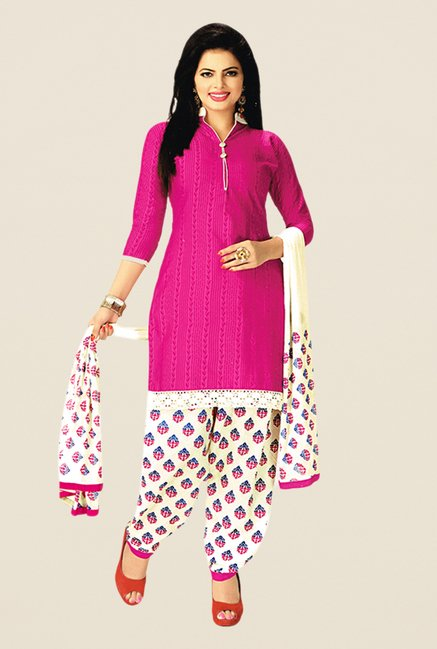 Salwar Studio Pink & Cream Printed Dress Material