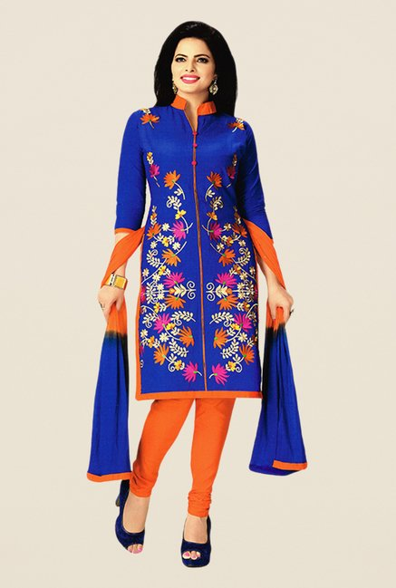 Salwar Studio Blue & Orange Embroidered Dress Material
