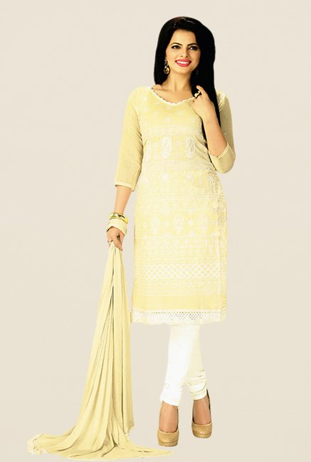 Salwar Studio Beige & White Embroidered Dress Material