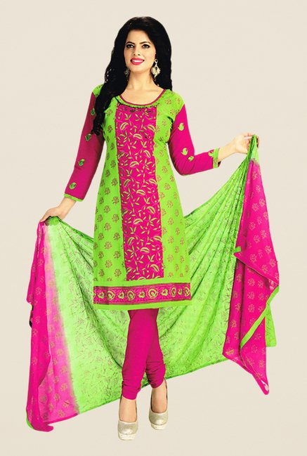 Salwar Studio Green & Pink Embroidered Dress Material