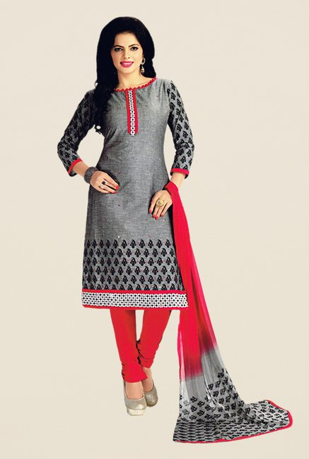 Salwar Studio Grey & Red Embroidered Dress Material