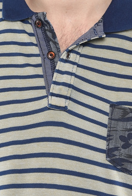 Mufti Grey Striped Polo T Shirt