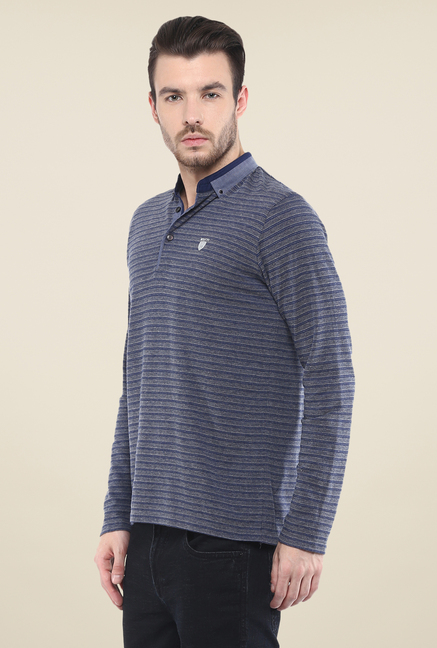 Mufti Blue Striped Polo T Shirt