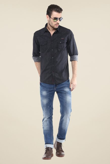 Mufti Mid Blue Solid Jeans
