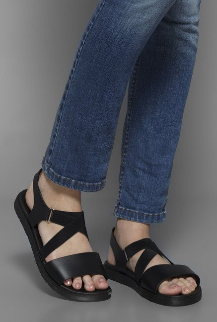 Head Over Heels by Westside Black Cross Strap Sandals