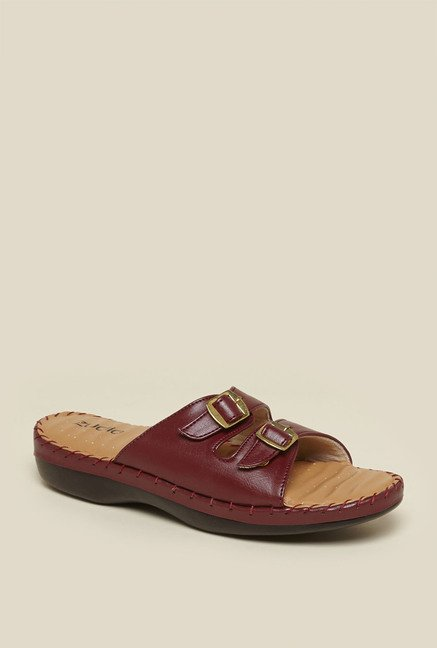 Zudio Maroon Slide Sandals