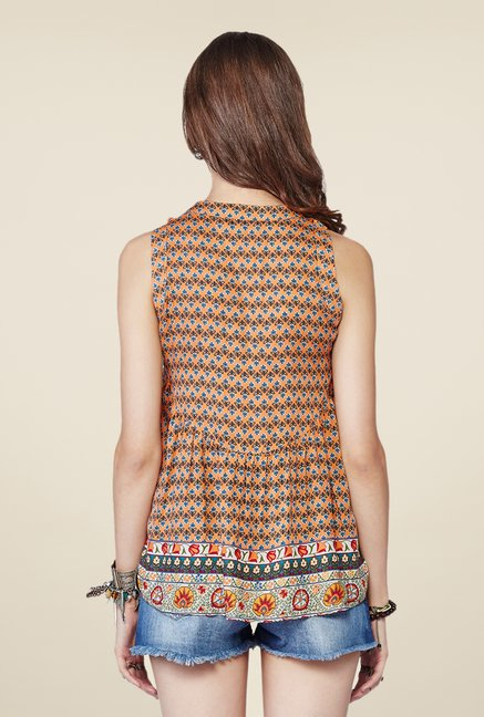 Global Desi Orange Floral Print Top