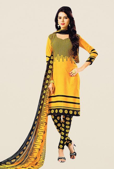 Salwar Studio Yellow & Black Printed Dress Material