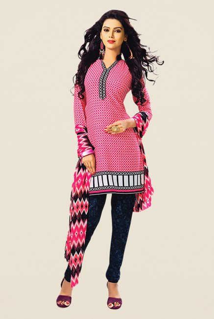 Salwar Studio Pink & Navy Printed Dress Material