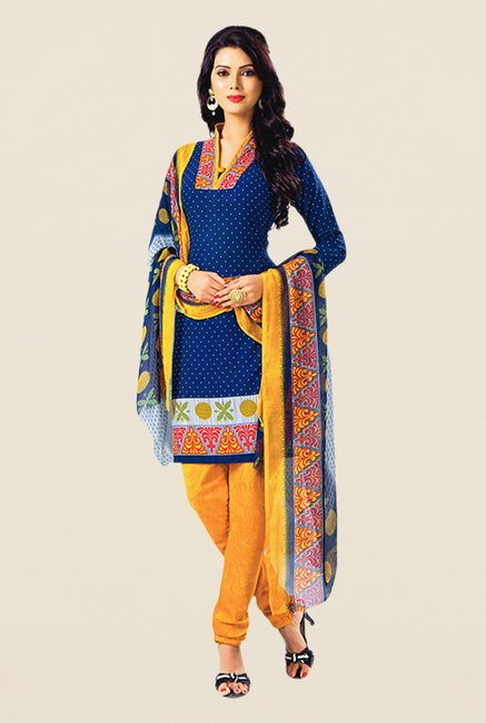 Salwar Studio Navy & Yellow Printed Dress Material