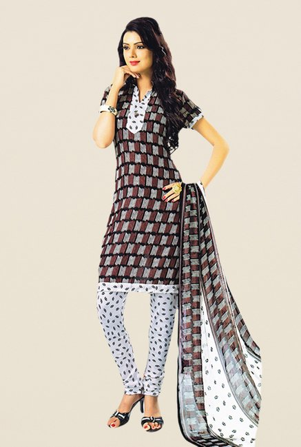 Salwar Studio Brown & White Printed Dress Material