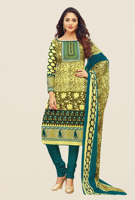 Salwar Studio Olive & Teal Printed Dress Material