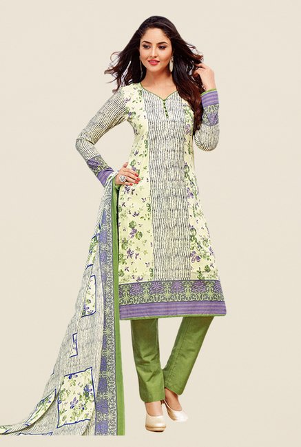 Salwar Studio Cream & Olive Floral Print Dress Material