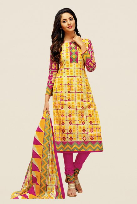 Salwar Studio Yellow & Pink Printed Dress Material