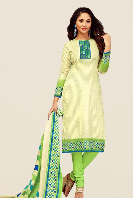 Salwar Studio Green & Cream Printed Dress Material