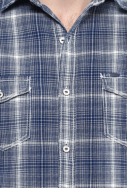Mufti Blue Checks Shirt
