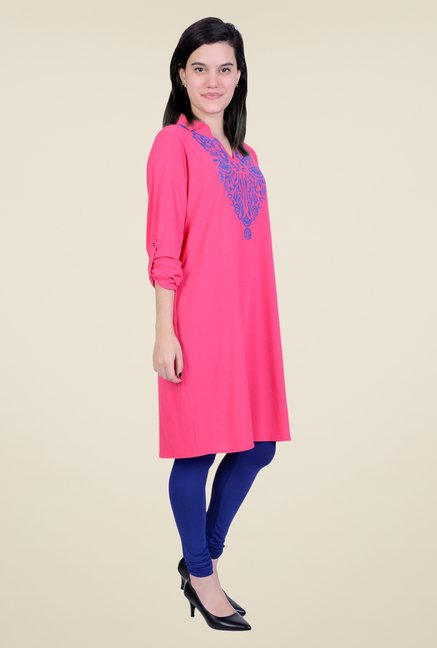Juniper Fuchsia Embroidered Kurta
