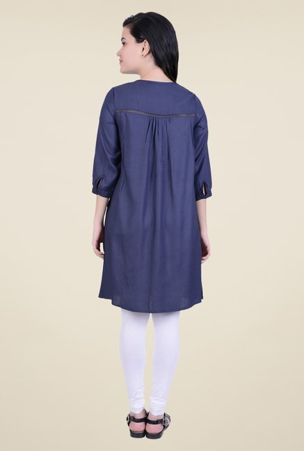 Juniper Navy Solid Kurta