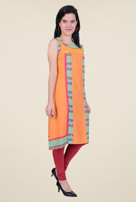 Juniper Orange Sleeveless Kurta