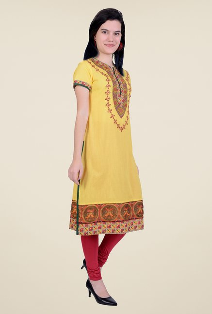 Juniper Yellow Printed Kurta