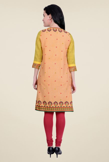 Juniper Orange Printed Kurta