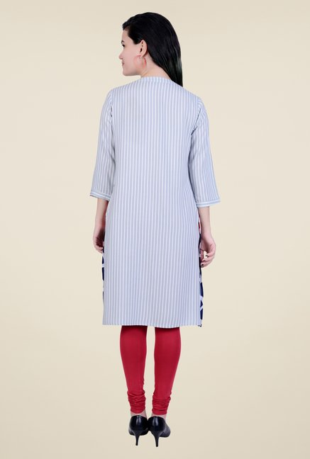 Juniper Grey Striped Kurta