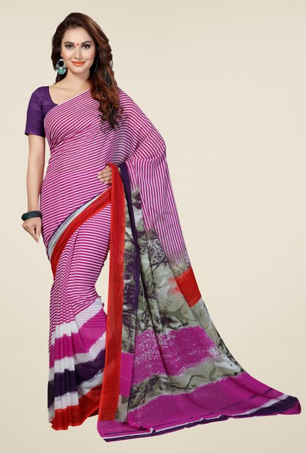 Ishin Magenta Faux Georgette Striped Saree