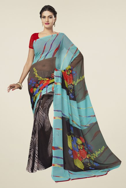 Ishin Multicolor Faux Georgette Printed Saree