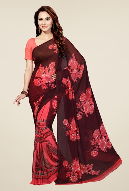 Ishin Peach & Brown Faux Georgette Floral Print Saree