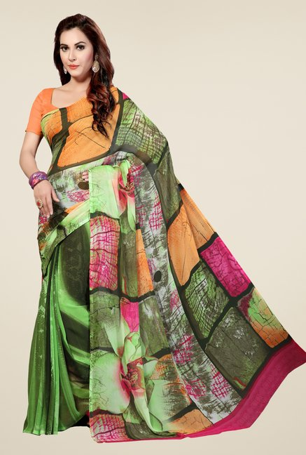 Ishin Green Faux Georgette Printed Saree