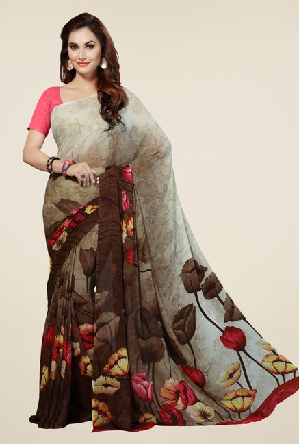 Ishin Beige & Brown Faux Georgette Floral Print Saree