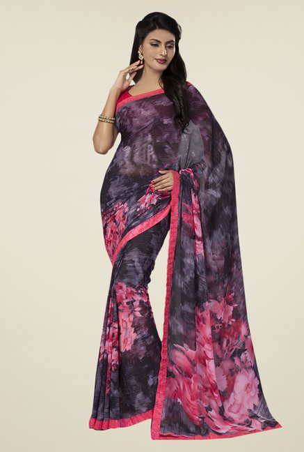 Ishin Purple & Pink Faux Georgette Floral Print Saree