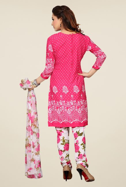 Ishin Pink & White Printed Unstitched Dress Material