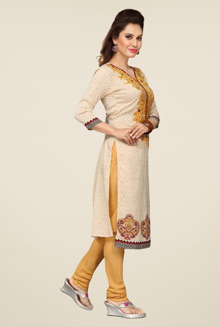Ishin Beige & Yellow Printed Unstitched Dress Material