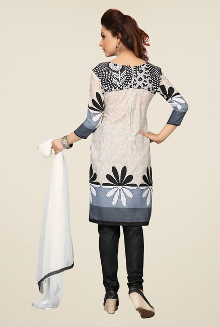 Ishin Off White & Black Printed Unstitched Dress Material