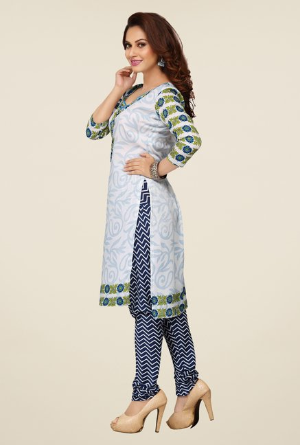 Ishin Off White & Navy Printed Unstitched Dress Material