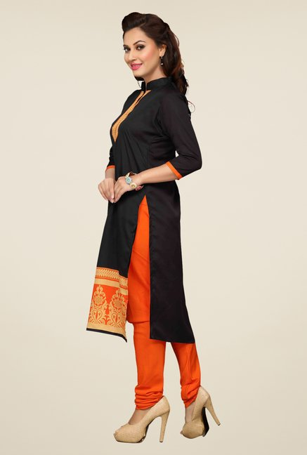 Ishin Black & Orange Printed Unstitched Dress Material